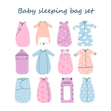 Set of twelve cute and cosy baby sleeping bags with different style and design. Safe and comfortable sleep. Vector illustration