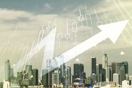 Multi exposure of abstract financial diagram and upward arrow on Los Angeles office buildings background, rise and breakthrough concept