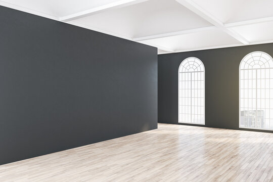 Empty black wall in classical gallery interior
