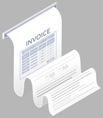 Wall Mural - Payment check paper document poked out of the cash register. Buying financial invoice bill purchasing calculate pay. Receipt the seller forms at the online checkout for transfer to the buyer