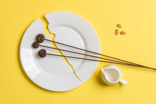 Minimalistic composition of white dishes and dried flowers on a yellow background.
