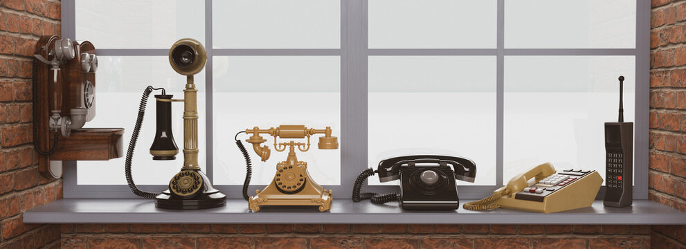 Banner con una colección de teléfonos 3d antiguos sobre la repisa de una ventana