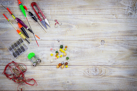 many different fishing floats in the box. fishing tackle and accessories for catching Herabuna