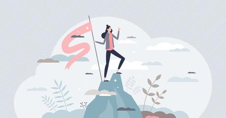 Fototapeta Successful businesswoman as confident female work leader tiny person concept obraz