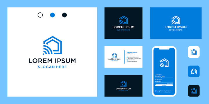 home logo shape with advanced technology and connected. icons for technology, building, construction, and internet businesses. Premium Vectors. business card.