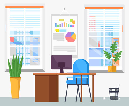 Modern workplace flat design. Office chair and office desk with stack of books in cozy room interior. Furniture and equipment for workplace of employee or office worker, vector interior workspace