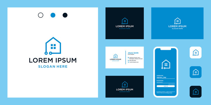 ome logo shape with advanced technology and connected. icons for technology, building, construction, and internet businesses. Premium Vectors. business card.