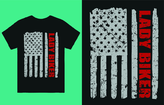Lady biker flag - t shirt design vector