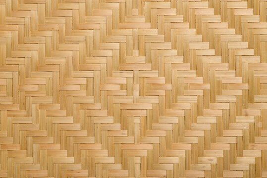 Brown woven bamboo pattern texture background, Thai style handicraft from natural product