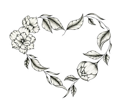 Vintage floral heart wreath, black and white floral heart line art drawing isolated on white for wedding, mother's day or valentines day, black floral heart sketch