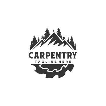 Woodwork sawmill carpentry emblem logo design vector illustration
