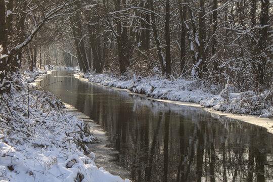Mystischer Spreewald; Winterliches Spreearm bei Leipe
