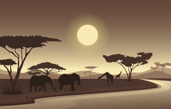Elephant Giraffe Oasis Animal Savanna Landscape Africa Wildlife Illustration