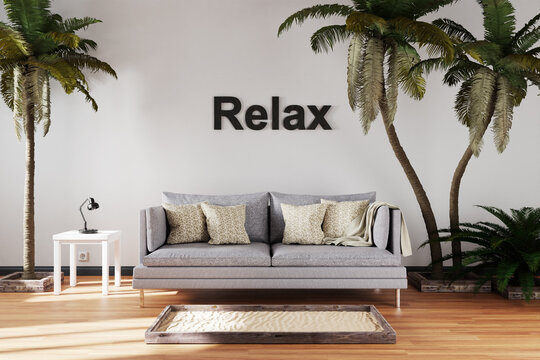 canceled vacation and stay at home concept due travel restrictions; elegant living room interior with single vintage sofa between large palm trees; relax; 3D Illustration
