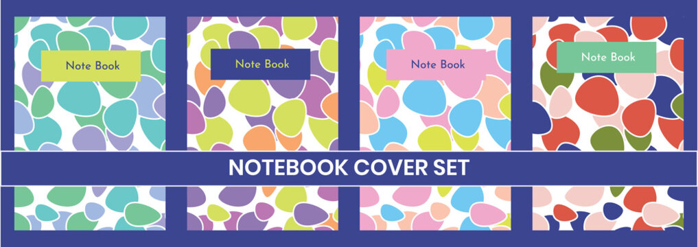 Cover page templates.  Funny cute colorful pebbles pattern notebook cover set for notebook, diary and notepads, set of 4