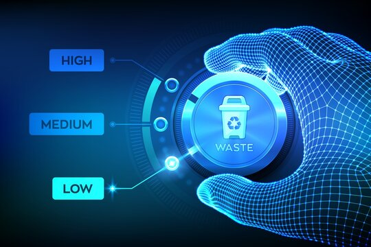 Waste management concept. Wireframe hand setting waste level button on lowest position to optimize manufacture production and reduce costs. Lean management concept. Vector illustration.