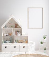 Fototapeta Mock up frame in cozy nursery interior background, Scandinavian style, 3D render