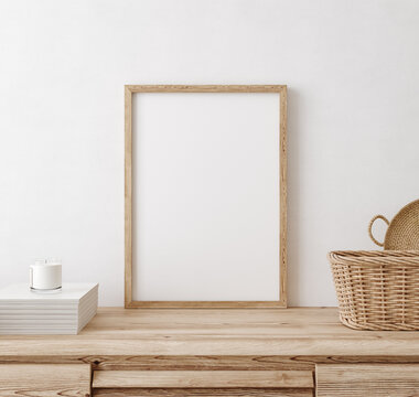 Mock up frame in home interior background, white room with natural wooden furniture, Scandi-Boho style, 3d render