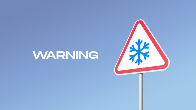 3D illustration. Warning of bad road conditions. Snowfall. Road sign in the shape of a triangle with the image of a snowflake on a light blue sky background