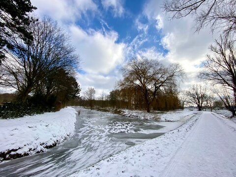 A snow covered path in Spijkenisse, dutch winter in The Netherlands