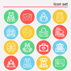Fototapeta 16 pack of voyage  lineal web icons set obraz