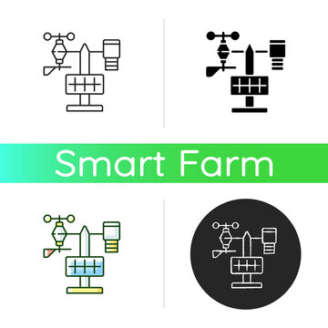 Weather stations icon. Agriculture meteo analysis. Optimal farming conditions. Weather data. Environmental monitoring. Linear black and RGB color styles. Isolated vector illustrations