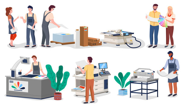 Printing house different equipment. Printer plotter, offset cutting machines and people workers. Industrial polygraphy isometric vector icons with man and woman at their workplaces in typography