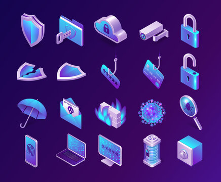 Computer security isometric icons set. Phishing, safe, database server and firewall, spam letter, shield, umbrella and lock, fingerprint or cloud computing technology service, isolated 3d vector signs