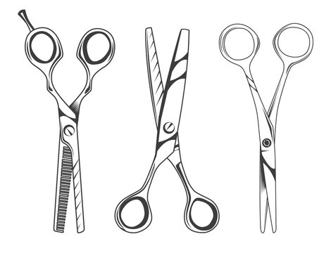 Set of scissors symbol isolated on white background. Opened hair cutting scissor. Barber logo icon. Tool for the work of a hairdresser or tailor. Metal cutting tool for hair or paper, sharp instrument
