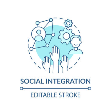 Employee incorporated in social structure concept icon. Worker acceptance by members. Moving to safe and society idea thin line illustration. Vector isolated outline RGB color drawing. Editable stroke