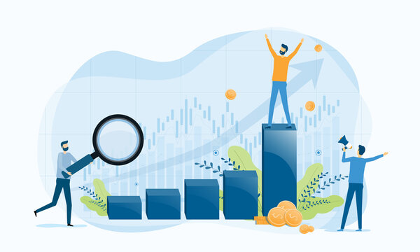 business people analytics and monitoring on business graph concept and business finance investment success concept.  flat vector illustration design for web landing page banner background.