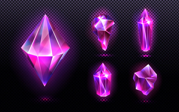 Magic crystal light, gem stones of purple or pink colors, faceted and rough glowing rocks, isolated crystalline mineral. Jewelry precious or semiprecious gemstones, Realistic 3d vector icons set
