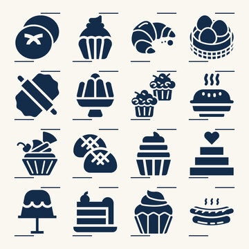 Simple set of baked good related filled icons.