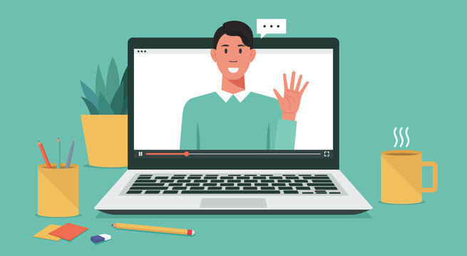 webinar online virtual meeting concept, remote working or work from home and anywhere, man using video conference via computer laptop screen, vector flat illustration