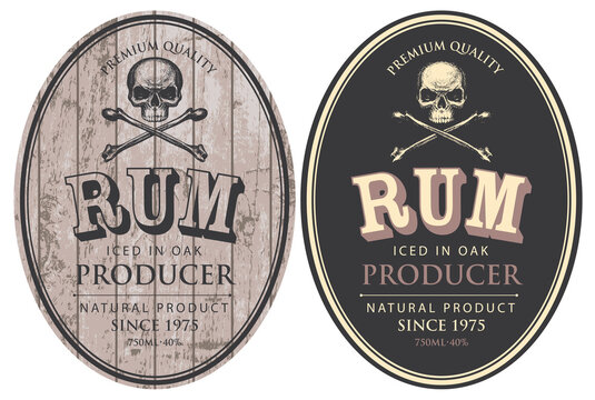 Set of two vector labels for Rum in oval frames with human skulls and crossbones on a wooden and black background in retro style.