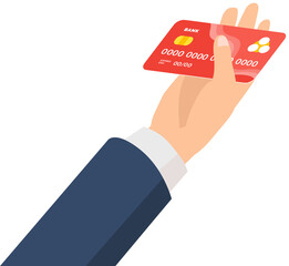 Wall Mural - Credit card in businessman hand. Idea - Mobile payment, Online shopping and electronic banking, salary, pension. Non-cash money, savings concept. Payment card with a chip in the hand of a man