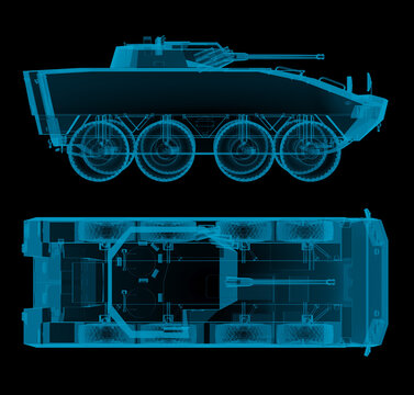 military armored personnel carrier in x-ray