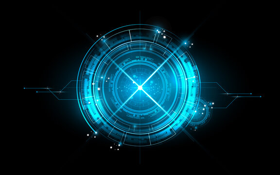 Technology blue background abstract art design for network circuit communication energy power concept art arrow speed line