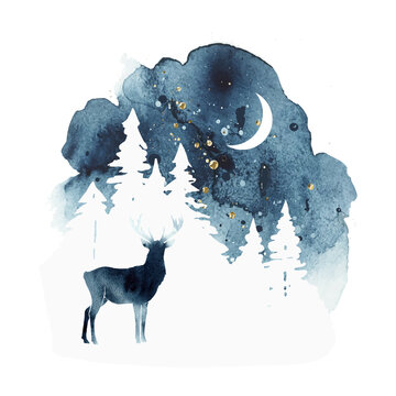 Vector silhouette of reindeer. Watercolor winter landscape with isolated animal, sky, moon and forest in blue and gold colors. Watercolor deer vector illustration and splash.