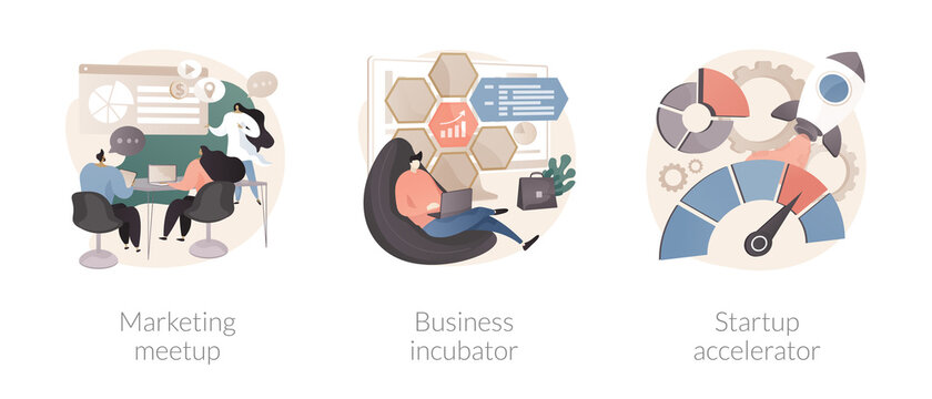 Venture investment abstract concept vector illustration set. Marketing meetup, business incubator, startup accelerator, sharing experience, business internet forum, opportunity abstract metaphor.