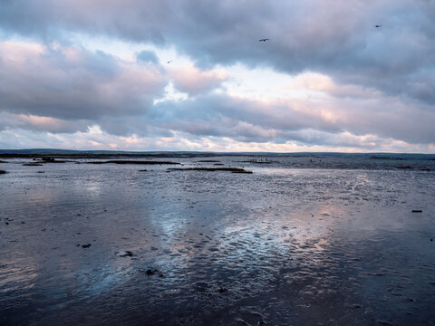 Winter evening view of the Skern area of Northam Burrows, near Appledore, North Devon.