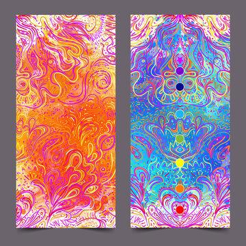 Yoga card, flyer, poster, mat design. Colorful design template for spiritual retreat or yoga studio. Ornamental business cards, oriental pattern. Vector illustration.