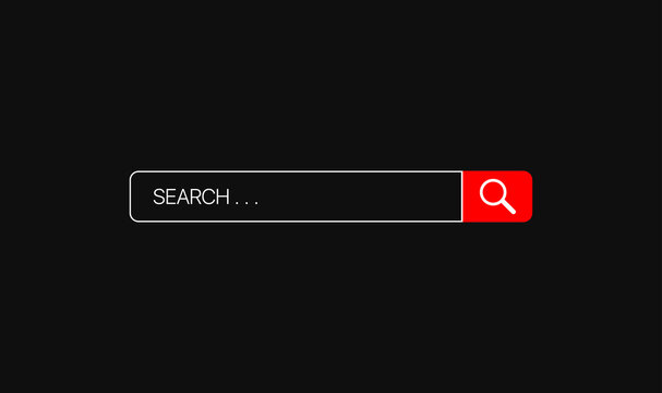 Youtube Search bar vector element with icon on black background . Vector illustration
