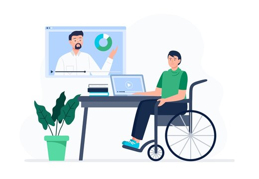 A man in the wheelchair watches video lessons. Online education, e-learning, studying at home. Vector flat illustration.