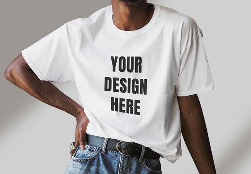 Person Wearing T-Shirt Mockup