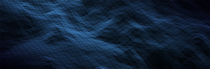 Obraz Abstract Blue Background. Dark low poly triangle pattern. Virtual computer Landscape. Technology style. Sci-fi surface. Banner or presentation template. Vector illustration - fototapety do salonu