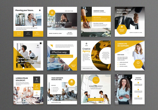 Business Social Media Layouts with Yellow Accents