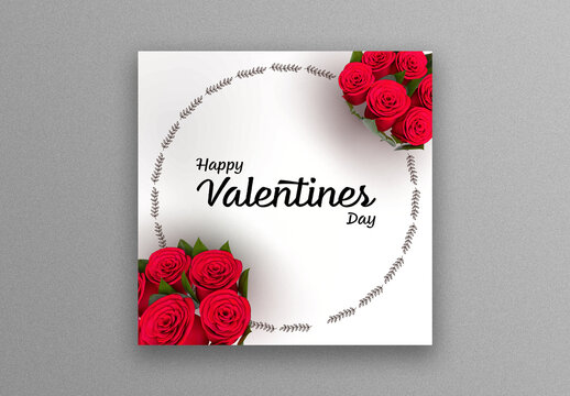 Valentine's Day Social Media Post Layout with Red Roses Image