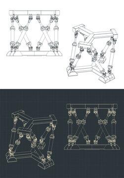 Hexapod mechanism drawings