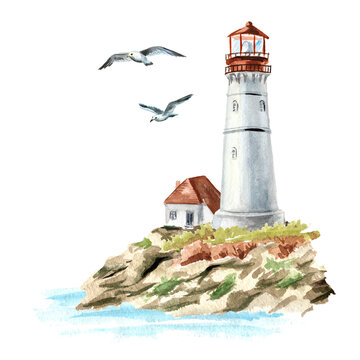 Rocks, seagulls and old lighthouse, Hand drawn watercolor illustration, isolated on white background